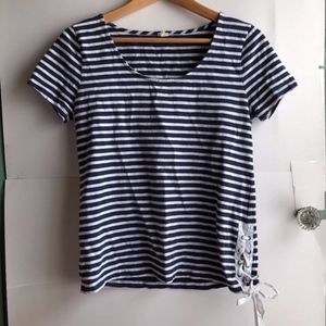 J. CREW Navy Blue White Striped Lace Up Tee Top XS